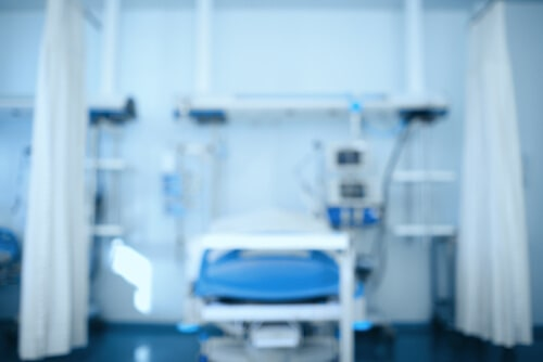 medical bed inside clinical room