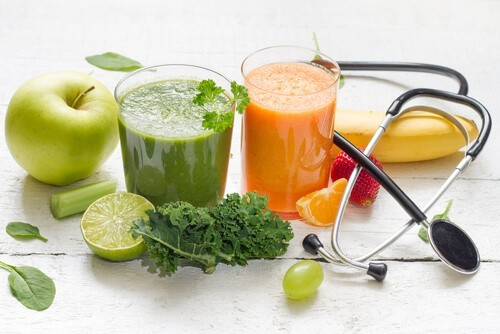 healthy juices, fruits, and vegetables