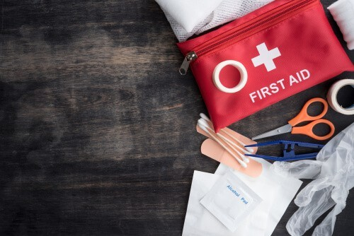 first aid kit and sutures