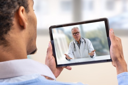 telemedicine patient on tablet with provider Los Angeles, CA